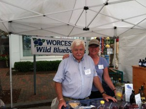 Owners of Worcester's Wild Blueberry Products Standing at Their Wild Blueberries Farm Stand