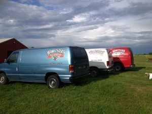 Worcester's Wild Blueberry Products Trucks Parked on the Maine Blueberry Farm
